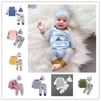 New 2018 Baby Clothing Set Fashion cartoon Pattern Patchwork Top+Pants+Hat Newborn Baby Boy Girl Clothes Toddler Outfits