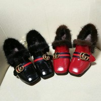 Gucci Woman Fashion Edgy Plus Velvet Casual Shoes