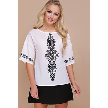 "Women's blouse ""Marta"". Black ornament"