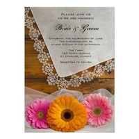 Daisy Trio with Lace Country Wedding Invitation from Zazzle.com