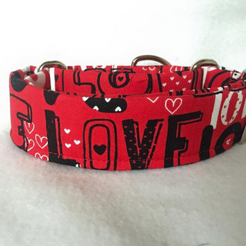 "Puppy Love Whole Lotta Love Red Martingale or Quick Release Collar Mustache 1"" Martingale, 1.5"" Martingale Collar or 2"" Classic Buckle"