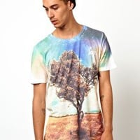 Hype Cosmic Tree T-Shirt With All Over Print at asos.com
