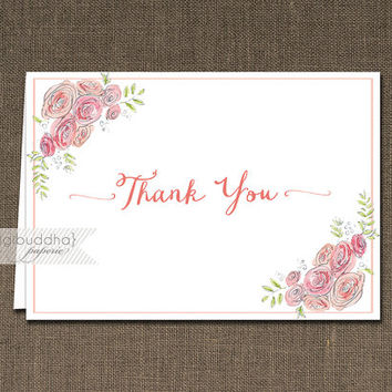 Watercolor Blooms Thank You Card INSTANT DOWNLOAD Pink coral Folded Note Wedding Notecard Blank Inside Digital or Printed- Anissa