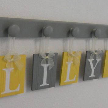 Baby Girl Rooms Hanging Ribbon Letter Name Plates Personalized for LILY with Flower with 5 Grey Wood Pegs Yellow and Gray