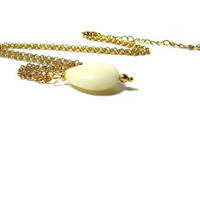 African Opal Teardrop Pendant  ,  14K Gold Plated Chain , Gift For Her