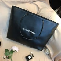 Balenciaga black new white leather shopping bag handbag shoulder bag