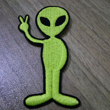 Alien Iron on Patch Green Embroidered Alien Applique Sew on Alien Patch
