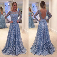 Long Sleeve Lace Prom Dress 2016 Vestido De Festa Sexy Open Back Long Formal Dresses Evening Wear Party Gown EE54