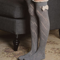 Leto Collection Ivory Pointelle Thigh-High Socks | Something special every day