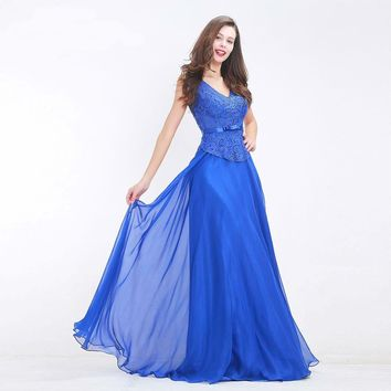 Royal Blue Prom Dresses V-neck Beading Illusion Elegant Chiffon Evening Dresses Floor length Party Gowns