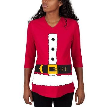PEAPGQ9 Christmas Santa Claus Costume Red Maternity 3/4 sleeve T-shirt