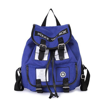 Dr. Who Tardis Backpack women Buckle Slouch Doctor Who Tardis bag women backpack School bags for teenagers children kids BG321