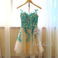 Blue A-line Short Lace Prom Dresses, Homecoming Dresses, Dress For Prom, Lace Dresses