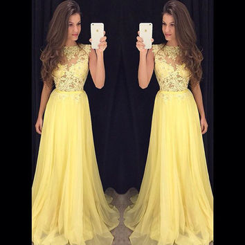 New Arrival Yellow Chiffon Long Prom Dresses Vestido De Festa Longo Lace Top Floor Length Cheap Evening Dress Party Elegant 2015
