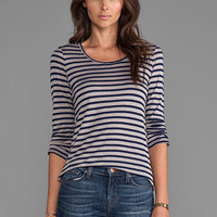 19 4t 3/4 Sleeve T-Shirt in Grey/Navy Stripe from REVOLVEclothing.com