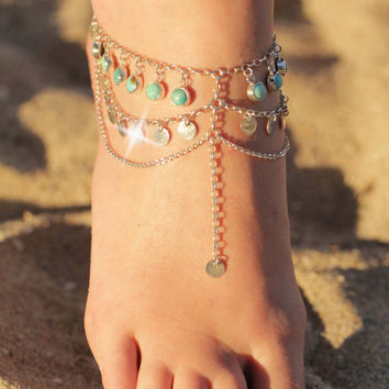 Boho chic foot chain, Boho Jewelry, Turquoise Jewelry, Sterling Silver Jewelry, Body Chain, Bohemian Chain, Gypsy Jewels, Anklet
