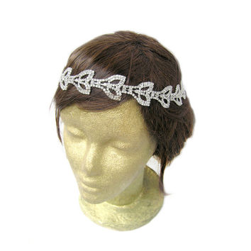 Leaves Headband, Rhinestone Leaf Headband, Wedding Leaf Headband, Leaf Bridal Headband, Grecian Crown, Bridal Fascinator