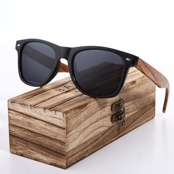 Sunglasses Polarized Zebra Wood Glasses Hand Made Vintage Wooden Frame Male Driving Sun Glasses Shades Gafas With Box