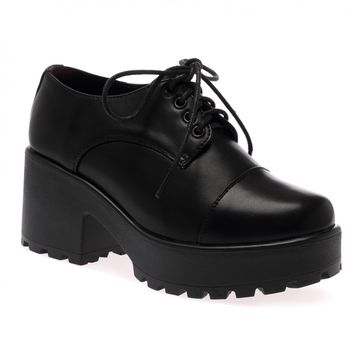 Juno Black Lace Up Chunky Brogue