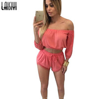 Women Sets Latest Summer Off Shoulder Crop Top and Shorts Solid White Womens Suits Sexy Strapless 2 Piece Set SU1051