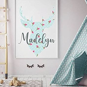 "Girl Name Wall Decal Personalized Vinyl Sticker Flowers Rustic Deer Colorful Decals Nursery Hunting Themed New Baby Trendy Decor Art NS2046 (22"" Tall (Wide depends on name))"