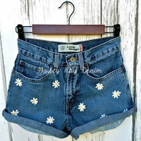 Levis High Waisted Cut Off Jean Denim Shorts - with Hippie daisies - Sizes US 0 - 20 Womens
