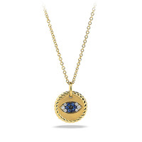 Cable Collectibles Evil Eye Charm Necklace with Diamonds in 18K Gold