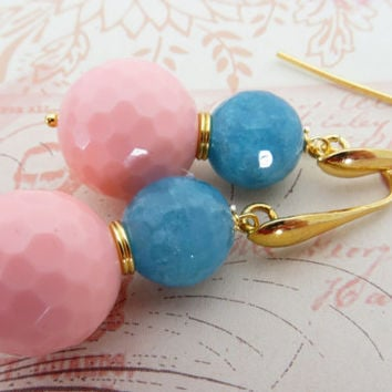 Pink coral earrings, uk stone earrings, light blue jade earrings, gemstone jewellery,  gold 18 K earrings, italian jewelry