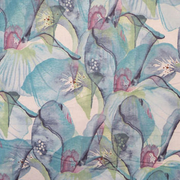 Blue Abstract Mariposa Print Pure Cotton Fabric--One Yard