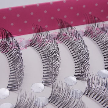 brand Black 10 pairs long natural false eyelashes fake lashes curving lengthening mix false eyelash individual eyelash extension