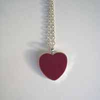 Pink Heart necklace. Medium (1'') heart shaped pendant, silver plated. Custom color. Resin (liquid glass)