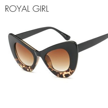 ROYAL GIRL 2017 New Sexy Chunky Cat eye Sunglasses Oval Acetate Sun Shades Chic Lady ss204