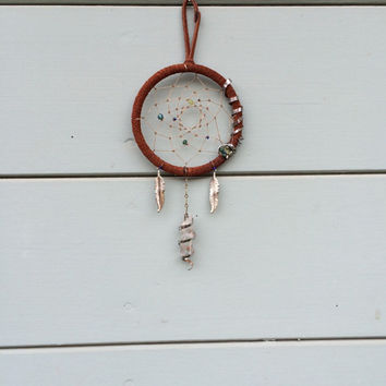 Mini Handmade Crystal and Metal Spiral Dream Catcher