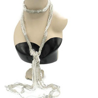 Flapper Style Silver And White Glass Bead Sequin Long Tassel Necklace Belt