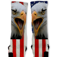 America USA Custom Nike Elite Socks Fast Shipping!! Nike Elites Customized!! Bald Eagle