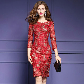 Elegant Red Blue Lace Dress Women Runway Dresses Mother of Bride Bodycon Party Evening Vestidos De Festa for Special Occasion