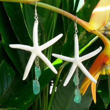 White Starfish Sea Glass Dangle Earrings