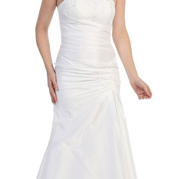 CLEARANCE - White Strapless Long Formal Dress Gathered Elegant Renaissance (Size Medium)