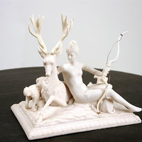 Diana of The Hunt with Stag Statue by Goujon 7.5H - 8192