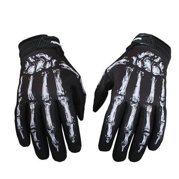 Outdoors Men's Cycling Bike Motorcycle Skull Bone Skeleton Goth Full Finger Gloves