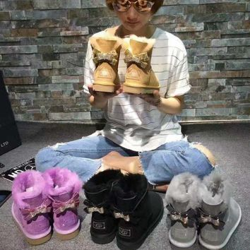 UGG Hot style wool queen diamond bow ultra female beauty with thick warm ugg boots two style 4-color