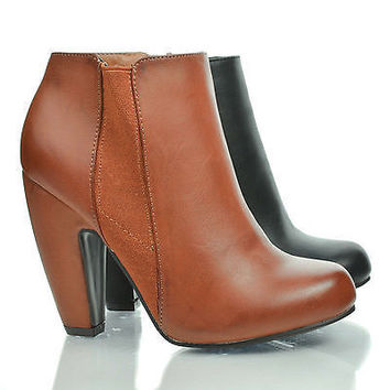 Mozza01 Chestnut by Bamboo, Almond Toe Zip Up Curvy Elastic Side Chunky Heel Ankle Booties