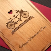 Romantic Valentines Day Card for Bike Lovers - Valentine Card - Wood Cards