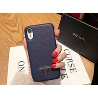 PRADA new all-inclusive anti-fall tide brand iphone xs max mobile phone case Blue