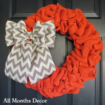 Orange Burlap Wreath with Gray Chevron Burlap Bow, Rustic, Country Decor, Spring Easter Fall Winter Christmas, Year Round, Fall, Porch Door