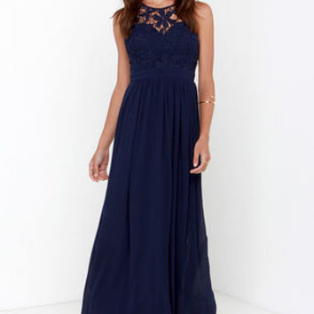 So far gown navy blue lace maxi dress from lulu s dresses for Navy blue maxi dress for wedding