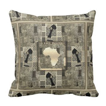 African Gold Mixed Pattern Princess Design Throw Pillow
