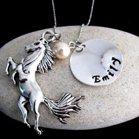 Horse Necklace, Horse Jewelry Personalized Necklace - Christmas Gift - Name Necklace-Birthstone Free Shipping In USA