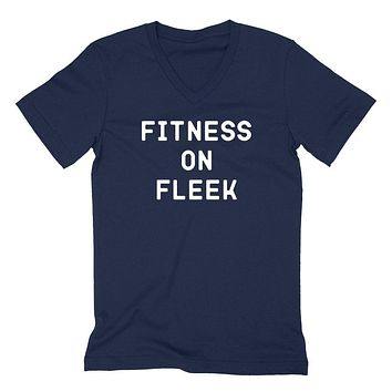 Fitness on fleek, funny workout, gym, gymlife, fitness, running graphic V Neck T Shirt