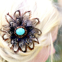 Turquoise Feather Hair Clip Rustic Country Wedding Headpiece